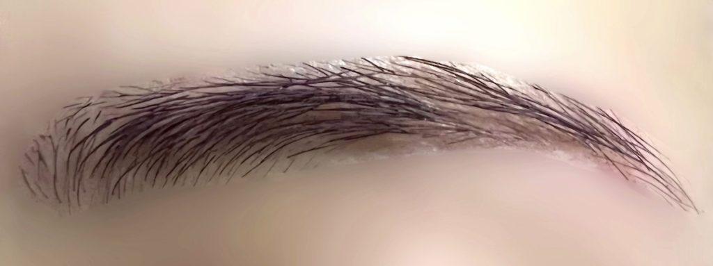 アイブロウマスカラを眉毛に塗った写真